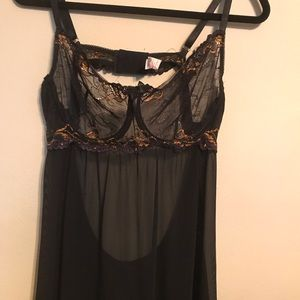 Black & Gold Sheer Lingerie Sz 2x